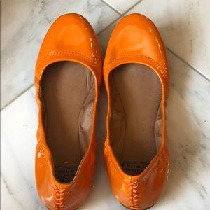 Lucky Brand patent orange ballet flats